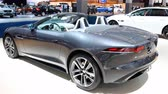 jaguar : Jaguar F-Type Convertible British sports car on display at the 2018 European motor show in Brussels. Stock Footage