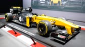renault : Renault F1 racing car that participated in the 2017 Formula 1 Grand Prix racing season on display at the 2018 European Motor Show Brussels.