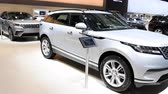 autó : Range Rover Velar luxury Land Rover SUV car on display at the 2018 European Motor Show Brussels.