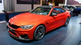 kupé : BMW M4 sports car on display during the 2018 European Motor Show Brussels. The M4 is the M Performance version of the BMW 4-series.