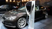 wtyczka : BMW 7-series 740Le iPerformance xDrive hybrid luxury executive sedan on display during the 2017 European Motor Show Brussels.