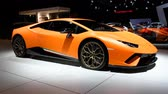 motor show : Lamborghini Huracán LP640-4 Performante sports car on display at the 2018 European motor show in Brussels. Stock Footage
