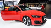 kupé : Audi RS5 executive coupe sports car on display at the 2018 European motor show in Brussels.