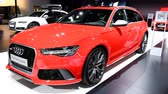 výrobce : Audi RS6 Avant Quattro high performance stationwagon executive luxury car on display at the 2018 European motor show in Brussels.