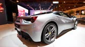 turbo : Ferrari 488 GTB mid engined twin-turbocharged V8 sports car on display at the 2018 European motor show in Brussels. Stock Footage