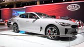 kia : Kia Stinger is a mid-sized executive 4-door fastback car on display at the 2018 European motor show in Brussels.