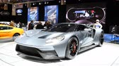 motor show : Ford GT Supercar performance car on display at the 2018 European motor show in Brussels. Stock Footage
