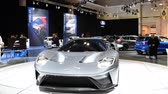 sala de exposição : Ford GT Supercar performance car on display at the 2018 European motor show in Brussels. Stock Footage