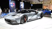 supercar : Ford GT Supercar performance car on display at the 2018 European motor show in Brussels. Stock Footage