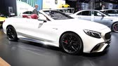 автомобили : Mercedes-AMG S65 Cabriolet luxury convertible car on display during the 2018 European Motor Show Brussels.