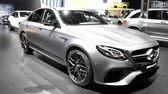událost : Mercedes-AMG E 63 S high performance luxury sedan car on display during the 2018 European Motor Show Brussels.