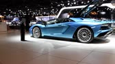 roadster : Lamborghini Aventador S Roadster and Huracán LP640-4 Performante sports cars on display at the 2018 European motor show in Brussels. Stock Footage