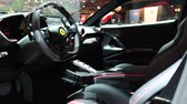 kierownica : Ferrari 812 Superfast sports car dashboard and interior on display at the 2018 European motor show in Brussels.