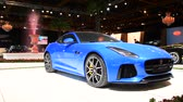 jaguar : Jaguar F-Type Supercharged Coupe sports car front view on display at the 2018 European motor show in Brussels. Stock Footage