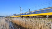オランダ : Train of the Dutch national railways, Nederlandse Spoorwegen or NS, driving through a winter landscape.