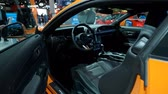 motor show : BRUSSELS, BELGIUM - JANUARY 9: Ford Mustang 5.0 V8 sports car interior on display at Brussels Expo