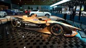 hybride : BRUSSELS, BELGIUM - JANUARY 9: DS E-TENSE FE19 race car of the DS Automobiles Formula E Team competing in the FIA Formula E season championship on display at Brussels Expo Stockvideo