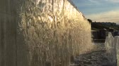 расплывчатый : Waterfall in the park in the summer, slow motion, closeup Стоковые видеозаписи