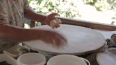 gozleme : Female hand rolled dough cake