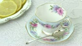 kruvasan : Antique Tea Cup with Lemons