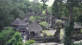 ilginç : Aerial view of Bali temple on green forest background. Scenic shot of ancient architecture in Indonesia. Tourist, religion and cultural concept Stok Video