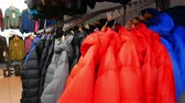 thrift : Inside of shop of outdoor. Tourist outdoor clothes on angers. 4K 3840x2160 Stock Footage