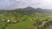 roof : Mountain landscape withe village and river Aerial shot