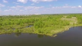 paisagem : Landscape with lake, wood and factory pipe. Aerial panorama