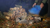 wood : Autumn Cozy evening with tourist inflates bonfire