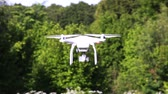 indicação : Drone fly with in front of green wood. Modern technologies Vídeos