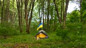 kuruluş : 4K. Small tourist camp, tent with Ukrainian flag in wood.