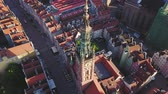 view point : Gdansk flying over Dluga street on sunrise camera down and rotating POI
