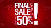 por cento : Final sale, everything 50 percent off. Sale words loop.