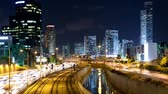 city lights : Traffic Time Lapse in Tel Aviv - Ayalon Freeway Stock Footage