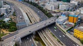 intersection : Tel Aviv and  Ayalon Freeway Traffic Time, Aerial View - Time Lapse