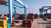 view : View of activity at a busy Israel Haifa Trading Cargo Container Port ,  Cargo containers loading by crane in port  terminal Stock Footage