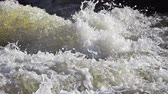 fãs : Barrage on Sarre River, Sarrebourg in Lorrraine, in the East of France, Slow motion Stock Footage