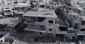 nadir : Damascus suburbs destroyed in aerial view, Syria