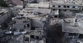 vluchteling : Damascus suburbs destroyed in aerial view, Syria