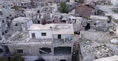 missiles : Damascus suburbs destroyed in aerial view, Syria