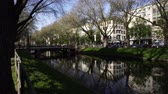 garden center : Konigsallee Canal. View on landscaped canal on urban boulevard Kings Avenue in City Center, Dusseldorf, Germany, Europe, April 19, 2018.