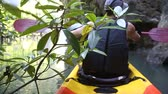 caiaque : european man backside view in safity vest rows on kayak out of jungle to freshwater in canyon