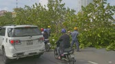 consequence : NHATRANG  VIETNAM - NOVEMBER 04 2017: Citizens driving vehicles past workers drawing broken branches from asphalt road after typhoon on November 04 in NhaTrang