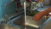 aletleri : closeup woman takes red tomatoes from plate and puts on sink near green onion to wash in apartment Stok Video