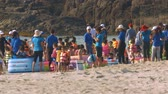 colete : NHA TRANG  VIETNAM - MARCH 17 2018: Large group of professional educators and children in colorful life vests from preschool play on sand beach on March 17 in Nha Trang Stock Footage