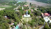 high rise buildings : drone rises above Buddha statue among landscape