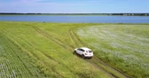 hajdina : car stands on road leading to lake among fields Stock mozgókép
