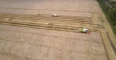 aerial motion above field to tractors gathering harvest