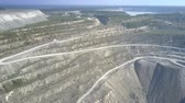 pedreira : wonderful aerial view boundless asbestos mine open pit terrain with distant lake under blue sky