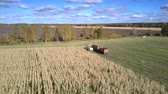 fodder : pictorial aerial boundless panorama corn harvester and truck drive to field end under blue sky with clouds Stock Footage
